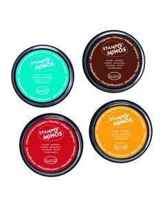 Stampo Colors inkt 4 stuks turkoois-bruin-rood-geel