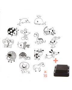 Stampo Kids stempels 15 stuks + inkt muis en vriendjes