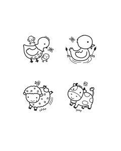 Stampo Baby stempels 4 stuks + inkt boerderijdieren