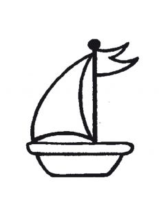 Stempel 4 x 4 cm zeilboot