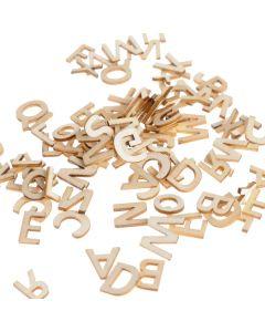 Houten letters 1,3 cm 162 stuks budget