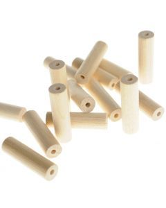 Houten kralen cilinder 30 x 8,6 mm 15 stuks