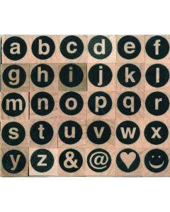 Stempelset alfabet rond kleine letters 0,5 cm