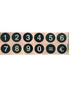 Stempelset cijfers rond + euro 0,5 cm