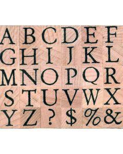 Stempelset alfabet antiek hoofdletters