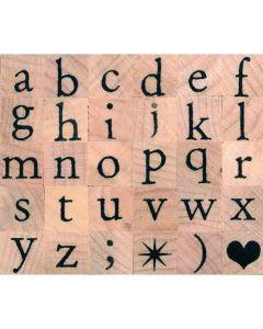 Stempelset alfabet antiek kleine letters