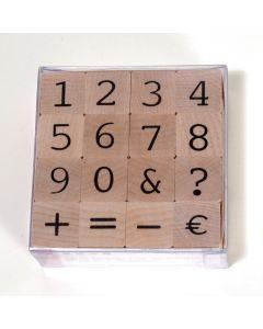 Stempelset cijfers + 6 tekens 2 cm