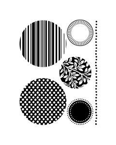 Stempelset transparant mini cirkels (o.a. streep)