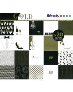 Blok papier 30,5 x 30,5 cm 40 vellen Gold