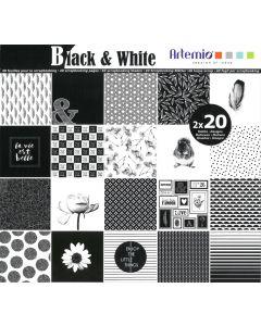Blok papier 30,5 x 30,5 cm 40 vellen Black & White