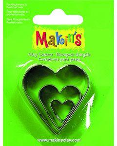 Makin's uitsteekvorm 3 stuks 2 - 3 - 4 cm hart