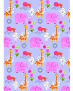 Stof katoen 45 x 55 cm Alice lila olifant/giraf