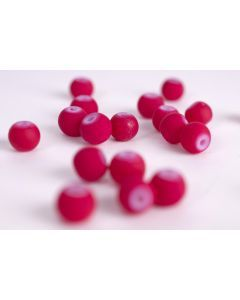 Glasparel 6 mm rubberized ca. 60 stuks magenta