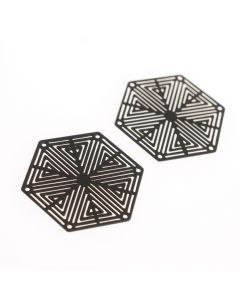Tussenstuk filigraan zeshoek 27 mm 2 st. mat zwart