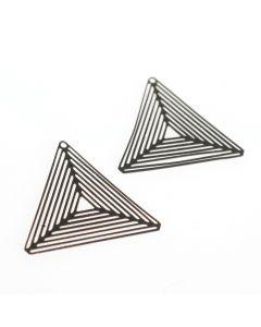 Hanger filigraan driehoek 27 mm 2 stuks mat zwart