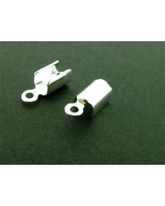 Lederklem 5 mm zilver glanzend 6 stuks