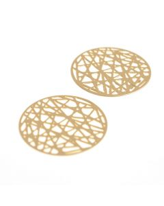 Hanger filigraan rond 24 mm 2 stuks mat goud