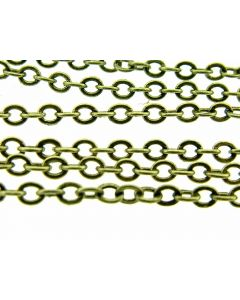 Ketting fijn ovaal 3 mm 2 m antiek goud