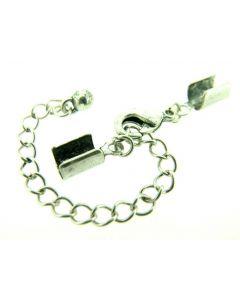 Set slot/lederklem 1 stuk antiek zilver