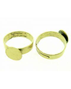 Ring met lijmplaatje 10 mm verstelbaar 1 stuk antiek goud