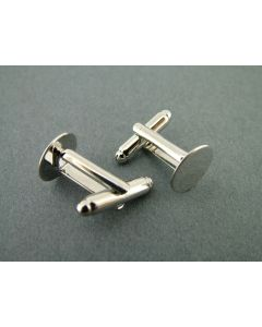 Manchetknoop 12 mm 2 stuks rhodium
