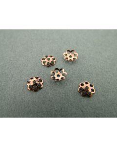 Kralenkapje bloem 6 mm 10 stuks antiek koper
