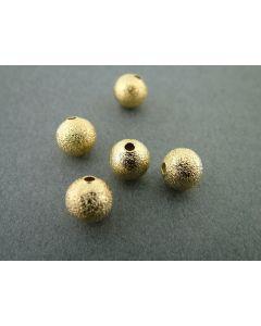Metalen kraal sandy ball 8 mm 10 stuks goud