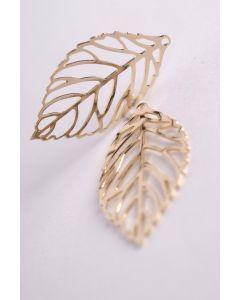 Filigraan blad 23 x 14 mm 2 stuks goud glanzend