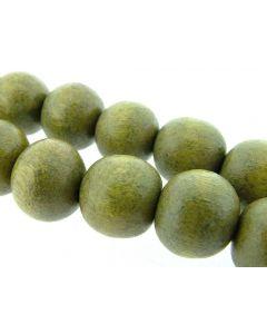 Kraal hout vernis 12 mm op streng 35 stuks olijfgroen