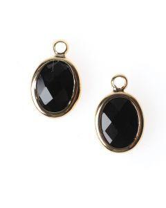 Kristal hanger 10 x 8 mm 2 stuks zwart