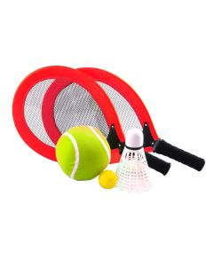 Set met 2 rackets, bal, reuzenbal en -shuttle