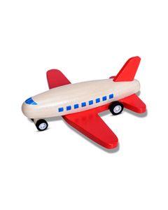 Houten pull back vliegtuig rood
