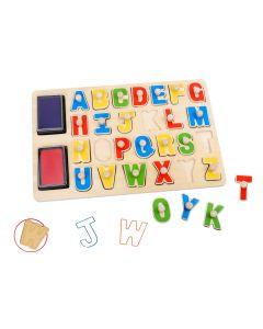 Houten puzzel / stempels alfabet 26+2 stuks