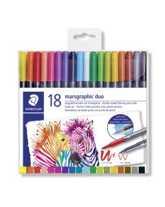Staedtler Marsgraphic viltstift duo brush 18 stuks
