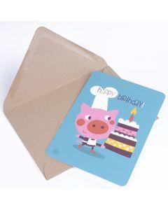 Postkaart met omslag Birthday - Pig