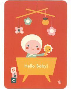Postkaart Hello Baby - rood