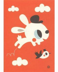 Postkaart Jumpy - konijn