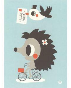 Postkaart Hetty - egel fiets