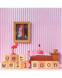 Wenskaart - Flamingo Get Well Soon