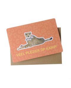 Wenskaart - Veel plezier op kamp (luipaard)