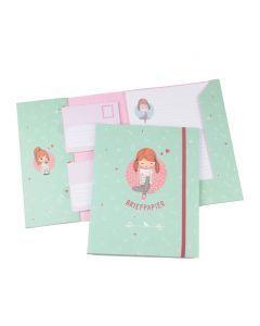 Briefpapier set 15 vellen + 10 enveloppen Meisje met boek