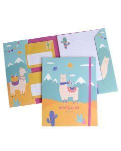 Briefpapier set 15 vellen + 10 enveloppen Lama