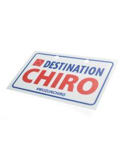 Reflecterend fietsplaatje Destination Chiro