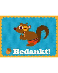 Wenskaart eekhoorn Bedankt!